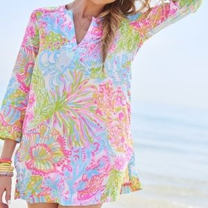 Lilly Pulitzer Lovers Coral Tunic Top V Neck Shirt